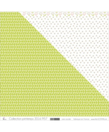 "Printed ""White Foliages & Khaki Peas on Apple Green Background"""