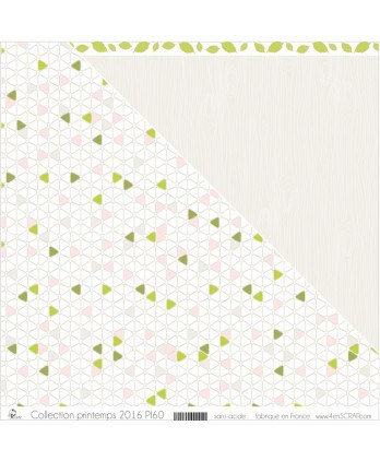 "Printed ""Cream, Pale Pink, Khaki & Apple Green Triangles on White Background"""