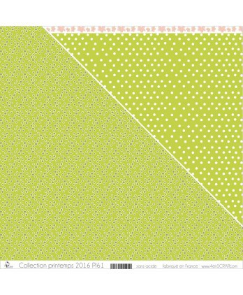 "Printed ""Small Khaki Peas on Apple Green Background"""