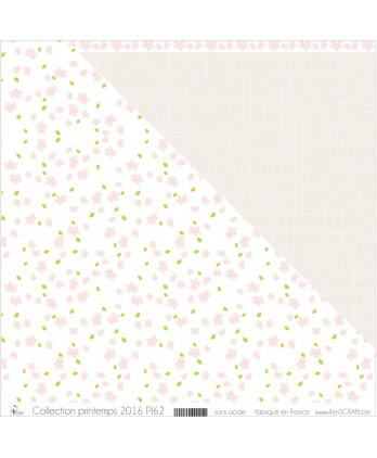 "Printed ""Pale Pink Cherry Blossoms & Apple Green Leaves on White Background"""