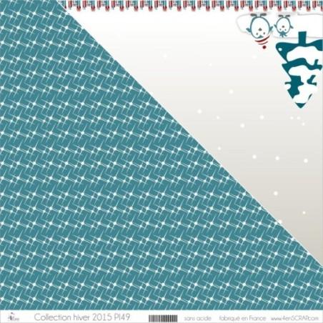 """Imprimé """"Etoiles géométriques blanches sur fond bleu canard"""""""