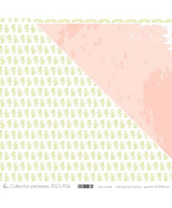 "Printed ""Green Ginko on White Background"""