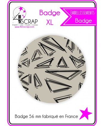 "Badge ""Triangles crayonnés noirs sur fond beige"""