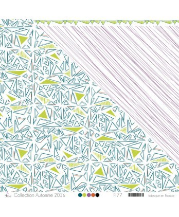 "Printed ""Apple Green, Duck Green & Orange Scribbled Triangles on White Background"""