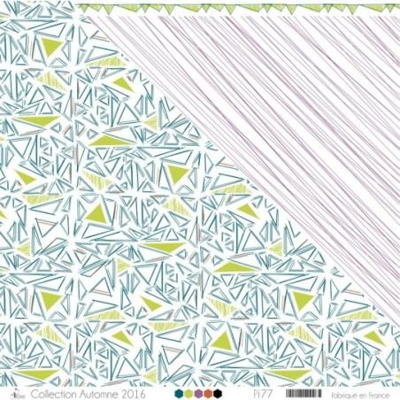 """Imprimé """"Triangles crayonnés vert pomme, vert canard & oranges sur fond blanc"""""""