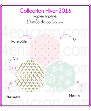 "Printed ""Mint & Gray Winter Decor on  White Background"""