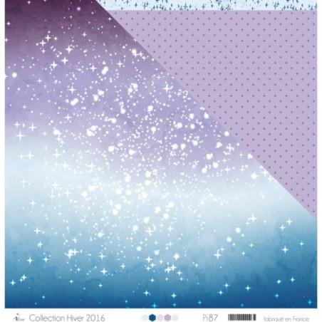 """Imprimé """"Etoiles blanches sur dégradé violet et bleu"""""""