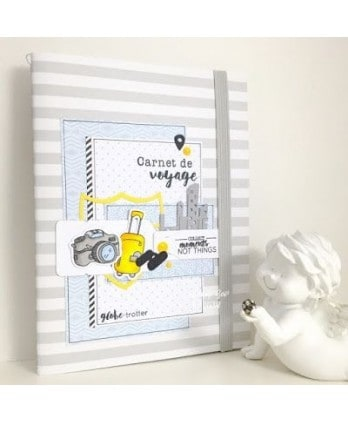 Clear stamp Scrapbooking Card Making airplane bus balloon hot air balloon suitcase - Travel diary 2