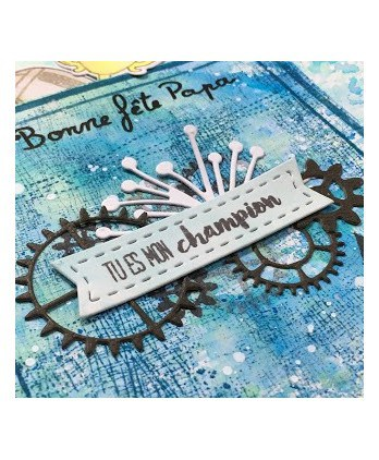 Matrice de coupe Scrapbooking Carterie ado - Bannières & engrenages