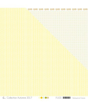 "Printed ""White Herringbones on pale yellow background"""