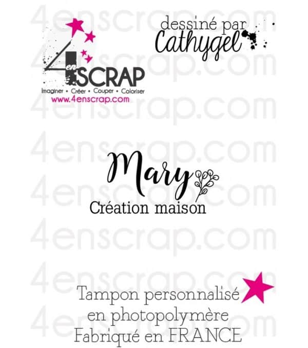 "Tampon transparent personnalisé Scrapbooking Carterie - Signature ""Mary"""
