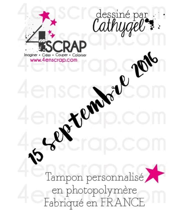 "Tampon transparent personnalisé Scrapbooking Carterie - Date ""brush"""