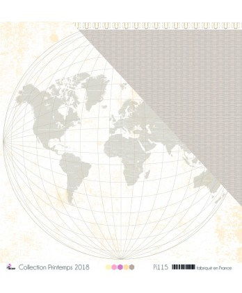 "Printed Paper Scrapbooking Card making - ""Taupe world map on white background"""