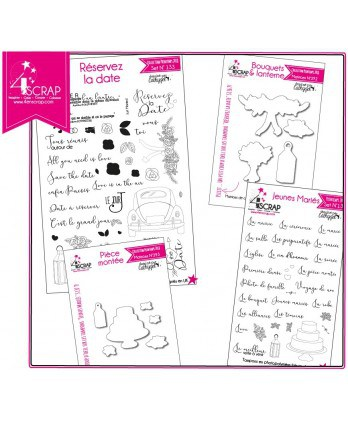 "Tampon transparent matrice die Scrapbooking Carterie - Pack produits ""Mariage"""