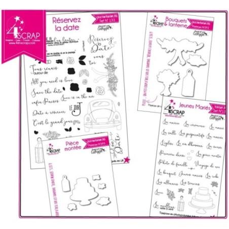 "Tampon transparent matrice die Scrapbooking Carterie - Pack produits ""Mariage"""