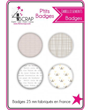 Embellissement Scrapbooking Carterie - Lot de 4 ptits badges Printemps 2018
