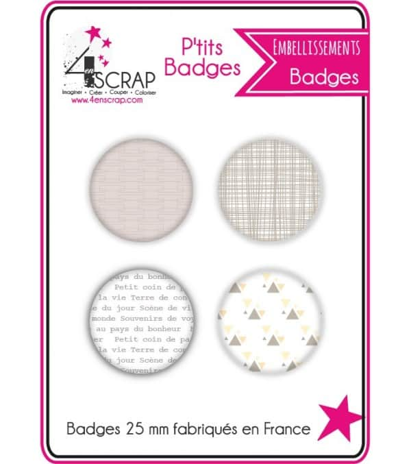 "Embellissement Scrapbooking Carterie - Lot de 4 ptits badges ""Voyage"""