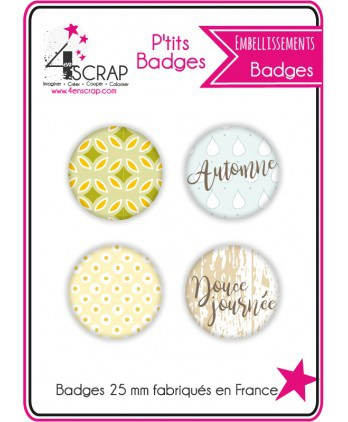 "Embellissement Scrapbooking Carterie - Lot de 4 ptits badges ""Eté Indien"""