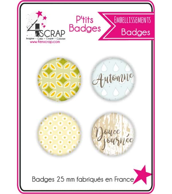 """Set of 4 small badges """"Indian Summer"""""""