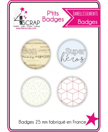 "Embellissement Scrapbooking Carterie - Lot de 4 ptits badges ""Anniversaire"""