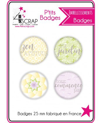 "Embellissement Scrapbooking Carterie - Lot de 4 ptits badges ""Jardin"""