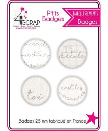 "Embellissement Scrapbooking Carterie - Lot de 4 ptits badges ""Enfants"""