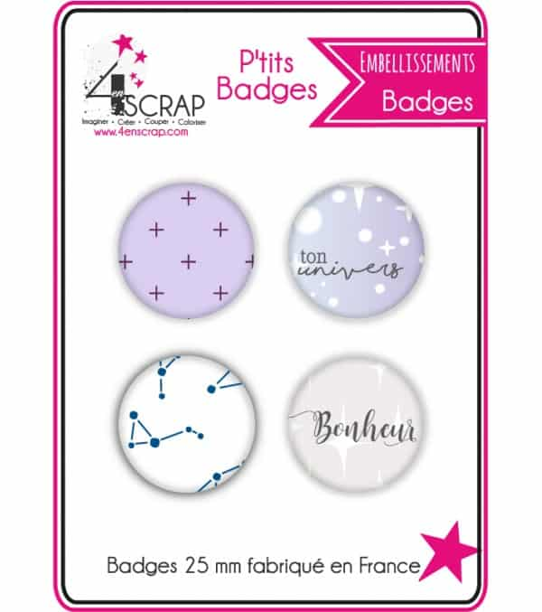 "Embellissement Scrapbooking Carterie - Lot de 4 ptits badges ""Constellations"""