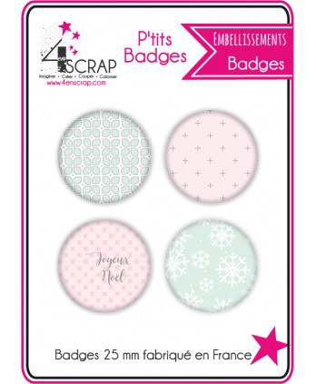 "Embellissement Scrapbooking Carterie - Lot de 4 ptits badges ""Noël pastel"""
