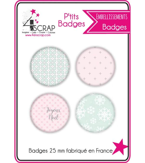 "Set of 4 Badges ""Pastel Christmas"""