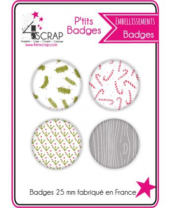 "Embellissement Scrapbooking Carterie - Lot de 4 ptits badges ""Noël traditionnel"""