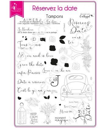 Clear stamp Scrapbooking Card making wedding union - Save the date