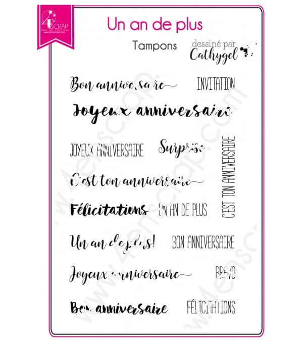Tampon transparent Scrapbooking Carterie anniversaire - Un an de plus