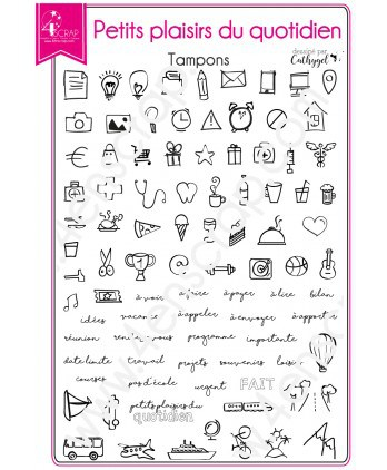 Tampon transparent Scrapbooking Carterie agenda - Petits plaisirs du quotidien