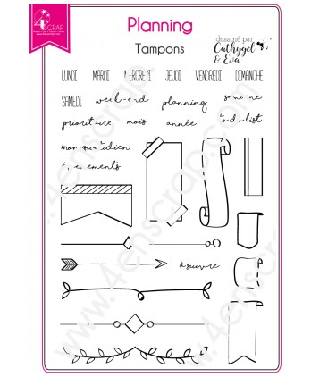 Tampon transparent Scrapbooking Carterie agenda - Planning