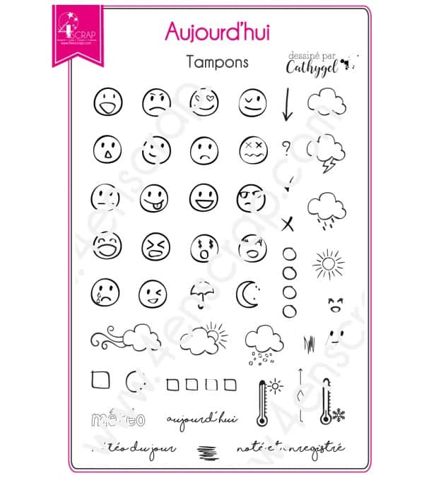 Clear stamp Scrapbooking Card Making planner bullet emoticon - Today