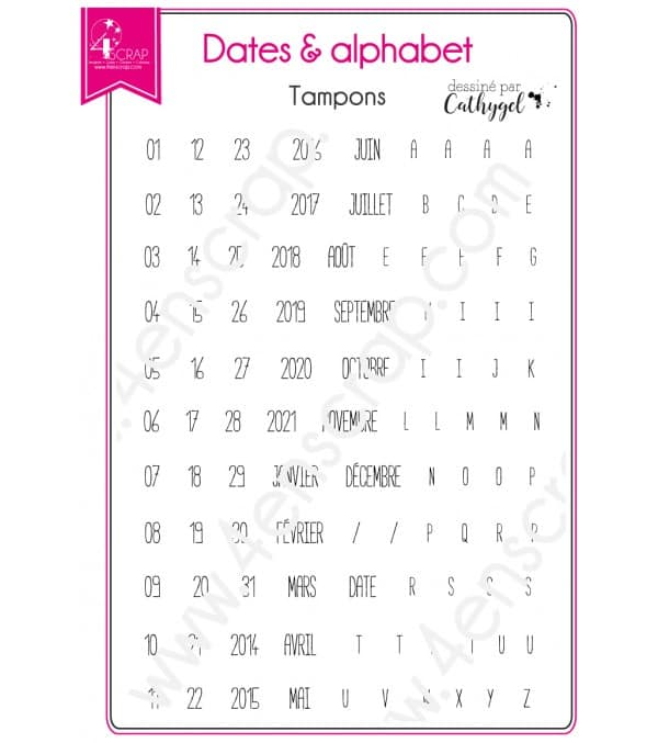 Tampon transparent Scrapbooking Carterie alphabet - Dates & alphabet