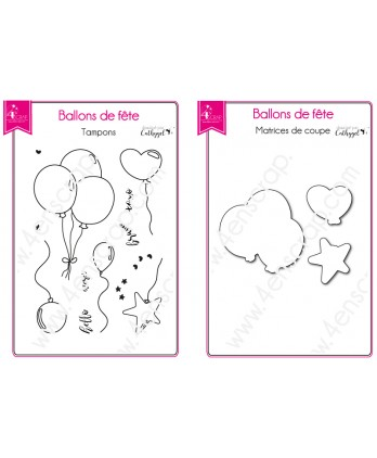 Clear Stamp Die Scrapbooking  Card Making Birthday- Festive balloons