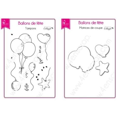 Tampon transparent matrice die Scrapbooking Carterie anniversaire  - Ballons de fête