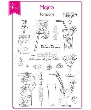 Tampon transparent Scrapbooking Carterie cocktail boisson - Mojito