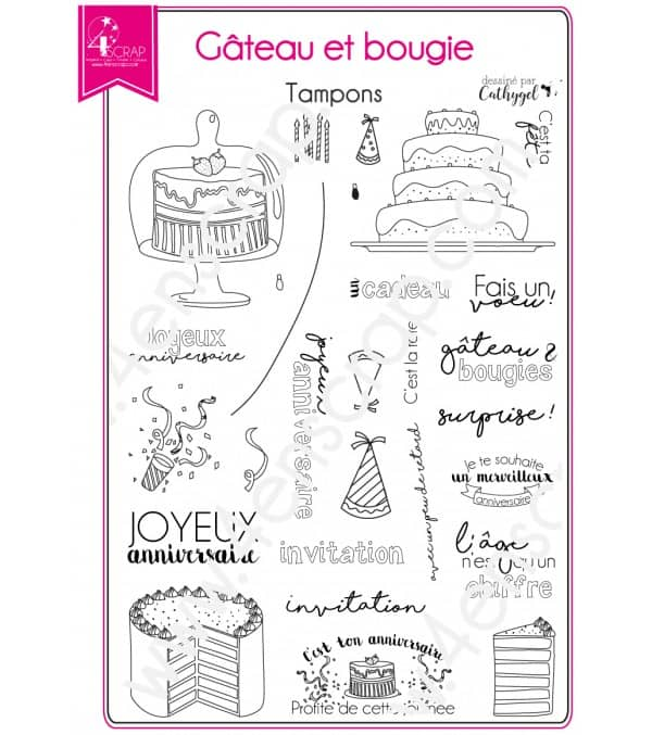 Clear stamp Scrapbooking Card Making birthday - Cake and candles