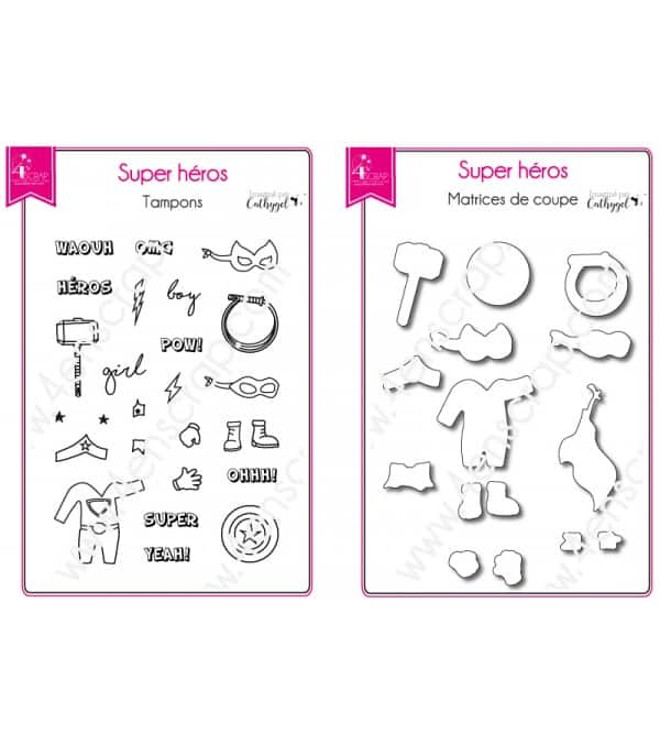 Tampon transparent matrice die Scrapbooking Carterie enfant  - Super Héros