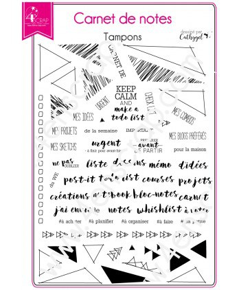 Tampon transparent Scrapbooking Carterie triangle - Carnet de notes