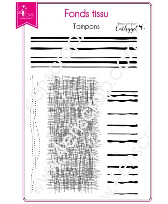 Tampon transparent Scrapbooking Carterie rayure - Fonds tissu