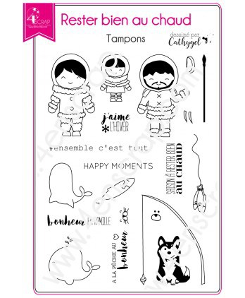 Clear stamp Scrapbooking Card Making eskimo - Stay warm