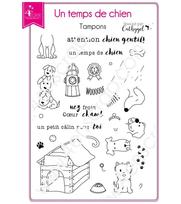 Tampon transparent Scrapbooking Carterie animal - Un temps de chien