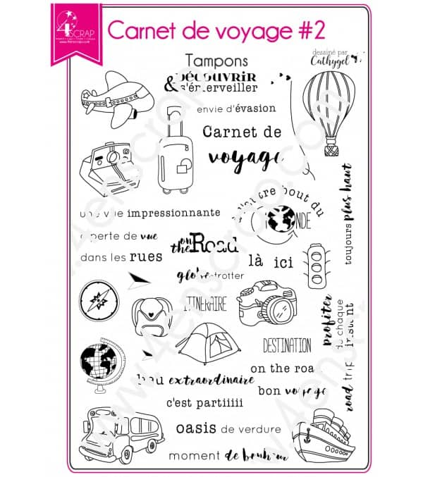 Tampon transparent Scrapbooking Carterie photo - Carnet de voyage 2