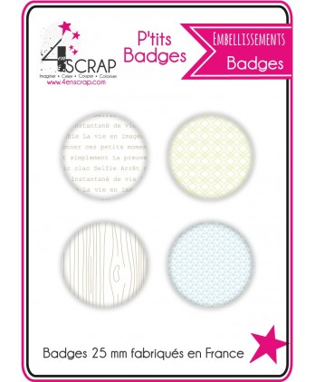 Embellissement Scrapbooking Carterie - Lot de 4 ptits badges Eté 2018