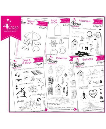 "Tampon transparent matrice die Scrapbooking Carterie - Pack ""Plage"""