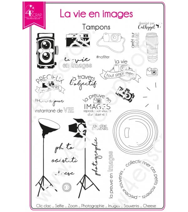 Tampon transparent Scrapbooking Carterie photo souvenir - La vie en images