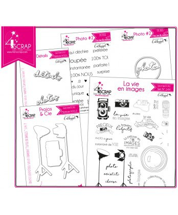 "Tampon transparent matrice die Scrapbooking Carterie - Pack produit ""Photo"""